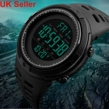 Mens Digital Black Sport Watch Military Waterproof LED Backlight Skmei1251 UK LH