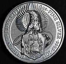 2017 5 POUNDS UK  2 OZ .9999 SILVER COIN QUEEN'S BEAST SERIES-GRIFFIN,  SKU-1620