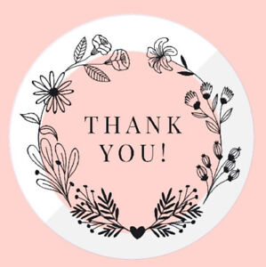 Round Thank you stickers for small or large business logo 100 x 35mm