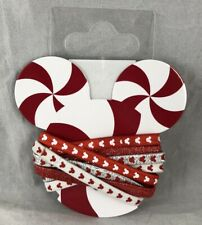 Disney Parks Hair Elastics Bands 8 Pack Holiday Peppermint Candy Cane Mouse Ears