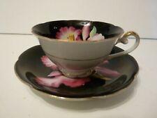 Hand Painted Occupied Japan Black Floral Tea Cup & Saucer Set Estate Fresh