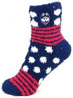 Connecticut (UConn) Huskies NCAA For Bare Feet Homegator Navy Fuzzy Socks