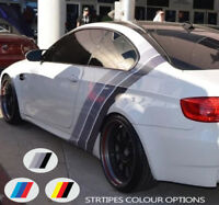 For BMW COLOURED Sport STRIPES Back Side VINYL Decal Sticker Motorsport Graphics