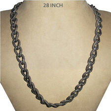 69.80ct Diamond Pave Chain Necklace 925 Sterling Silver 14k Gold Antique Jewelry