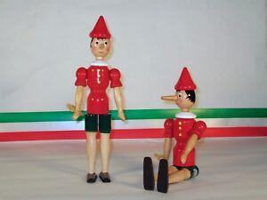 Burattino Pinocchio in Legno H cm 24 Puppet wood bois holz madera art 4