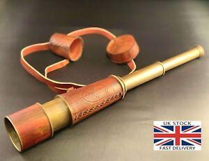 "18"" Inch Antique Maritime Brass Leather Telescope Nautical Vintage Spyglass"