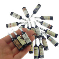 51706 Silver&Black Tone Mini Wine Bottle Pendants Charms Findings Crafts 20pcs