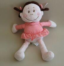 Peluche doudou poupée fille KIMBALOO LA HALLE cheveux marron robe rose à pois