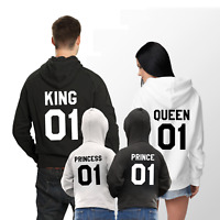 King Queen Prince Princess 01 Matching Hoodies For Family Outfit Custom Number