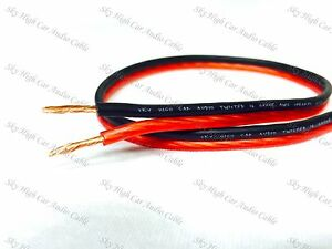 100 ' feet TRUE 16 Gauge AWG RED/BK Speaker Wire Car Home Sky High ft