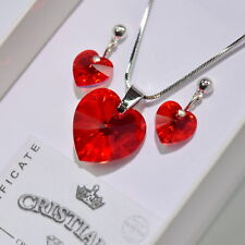 Red Heart Swarovski Elements Necklace Crystal Pendant Set Earrings Ladies !