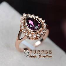 Amethyst Pear Cut Made With SWAROVSKI Crystal Ring 18K Rose Gold Plated