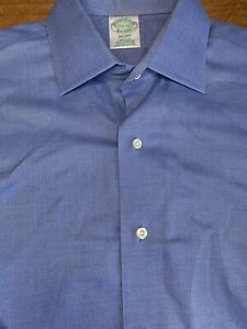 Brooks Brothers Milano Blue Button Up 15 1/2-32 $140 B64