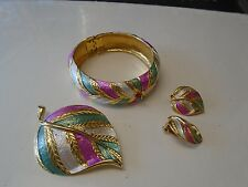 Vintage Costume Jewelry Lot, set, Park Lane Bracelet, Earrings, Brooch