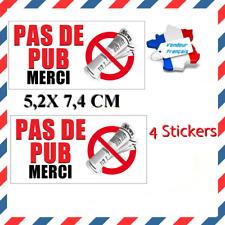 4x Stickers Autocollants STOP PAS DE PUB / STOP PUB MERCI boite aux lettres