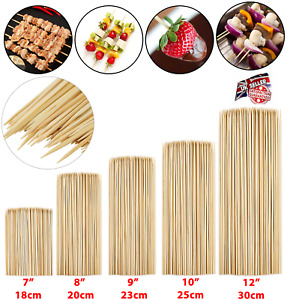200 BAMBOO SKEWERS Wooden Kebab BBQ Fruit Chocolate Fountain Fondue Stick