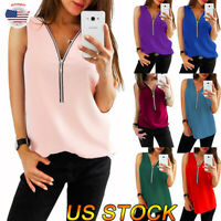 HOT Womens Zipper V Neck Blouse Sexy Shirts Casual Loose T-shirt Sleeveless Tops