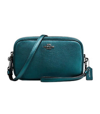 Coach Metallic Mineral Turquoise Leather Crossbody Clutch $175 *new w/ tags*