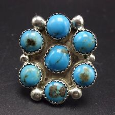 Vintage NAVAJO Sterling Silver & TURQUOISE Cluster RING, size 8.5