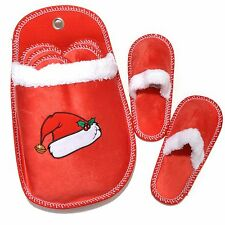North Shore Linens Set of 6 Microfleece Holiday Slippers w/ Holder Size 5 - 11