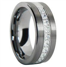 Brushed Tungsten Carbide Princess Cut CZ Men Women Wedding Band Ring Size 7-15