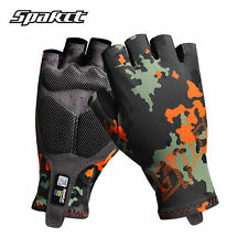 Spakct Bike Cycling Half Finger Gloves Breathable Soft MTB Camouflage Gloves L