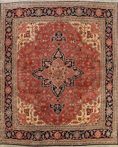 Vintage Geometric Heriz Romanian Area Rug Hand-knotted Wool Carpet 10x10 Square