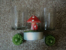 Fly agaric mushroom candle + 2 green lotus flower candles with glass containers