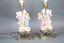 Antique Lamps Pair Art Nouveau Female Figures Vases Metal Mount Serpent Bisque