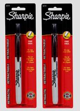 2 Sharpie Retractable Black Fine Tip Permanent Marker No Cap 1pk Non Toxic 32721