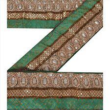 Vintage Sari Border Antique Hand Beaded 1 YD Indian Trim Sewing Purple Deco Lace