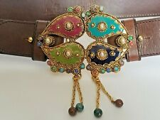 Vtg. ETRO Milano Jeweled Paisley Goldtone Buckle Brown Leather Belt Size 85