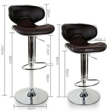 2x Brown Kitchen Stool Chrome Legs PU Leather Seat Retro Modern Office Chocolate