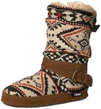 MUK LUKS Women's Lisen Light Tan Mid-Height Slipper Boot Small Indoor House NEW