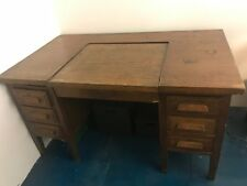 Vintage solid dark wood writing desk