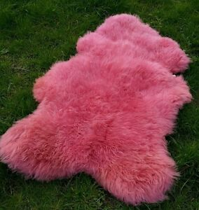 Real Scandinavian XL Sheepskin Lambskin Fur Top Tanning Pink 43 5/16in