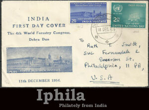 Fourth World Forestry Congress Dehra Dun  1954 Private FDC India     BLUE cachet