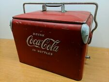 Rare Size!! Vintage Coca-Cola Ice Chest 1950s Metal Cooler Lid Bottle Opener