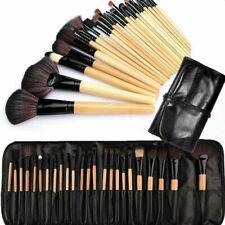 Kit 24 Pinceaux Maquillage Professionnel en Bois Visage Yeux Sourcils Trousse