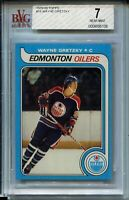 1979 Topps Hockey #18 Wayne Gretzky Rookie Card RC Graded BVG Nr MINT 7 Oilers