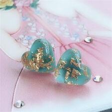 Natural Stone Turquoise Heart Shaped Earrings Ear Stud Jewelry Cute Women Girls