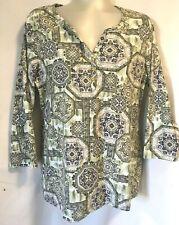 NWT Karen Scott Women T-Shirt Henley Size M 3/4 Sleeve Color Print Cotton Blend