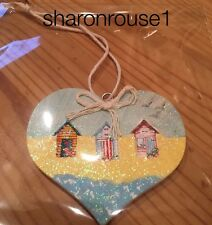Nautical Seaside Beach Hut Hanging Decoration Real Wood Heart Hand Painted