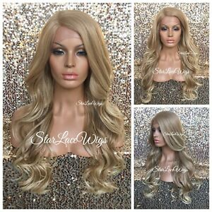 Lace Front Wig Ash Blonde Champagne Blonde Long Loose Curly Layers Heat Safe
