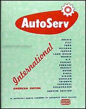 AutoServ Shop Manual Peugeot 403 Singer Gazelle Hunter 1960 1959 1958 1955-1957