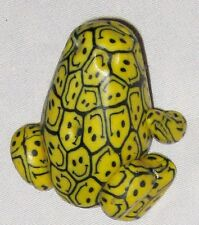 """Yellow Black SMILLY FACE DESIGN 2"""" Frog Figurine"""