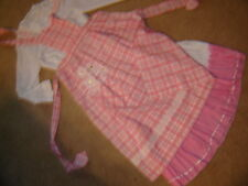 Prairie girl western Victorian white top, pink white skirt pink check apron M L