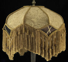VICTORIAN ANTIQUE GOLD EMBOSSED LAMPSHADE WITH BEAUTIFUL BROWN SILK AMBER BEADS