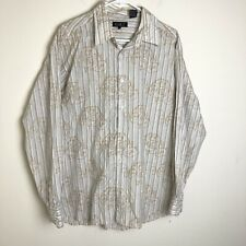 Pronti Collection By Phita Mens XL Pinstripe & Embroidered Button Up Tan/ White