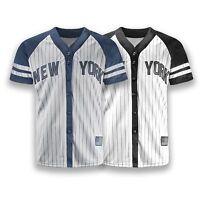 NEW Men New York Yankees Jersey Gray White Black Button Up Shirt USA S-2XL